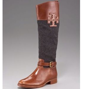 Tory Burch Brown Blaire Flannel Riding Boot